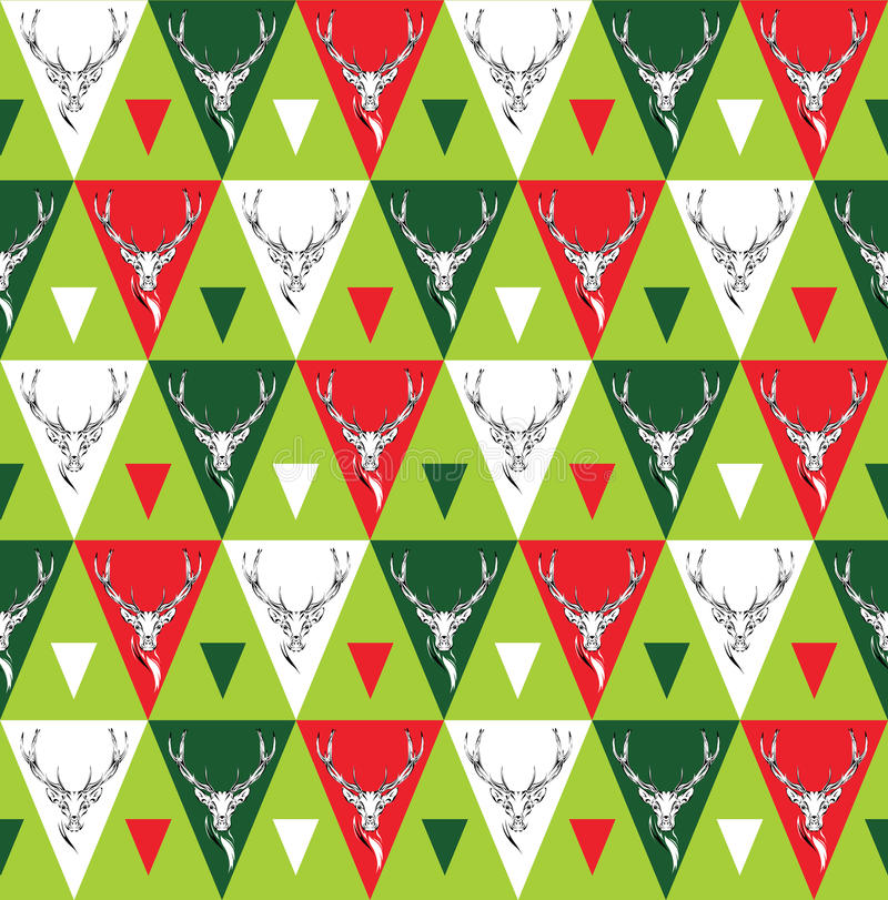 Seamless background with deer heads. ethnic ornament vector illustration