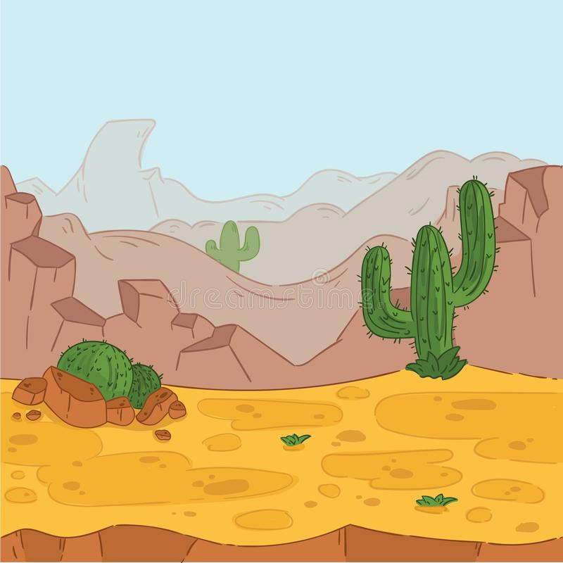 Seamless background. Desert landscape for game design. vector illustration