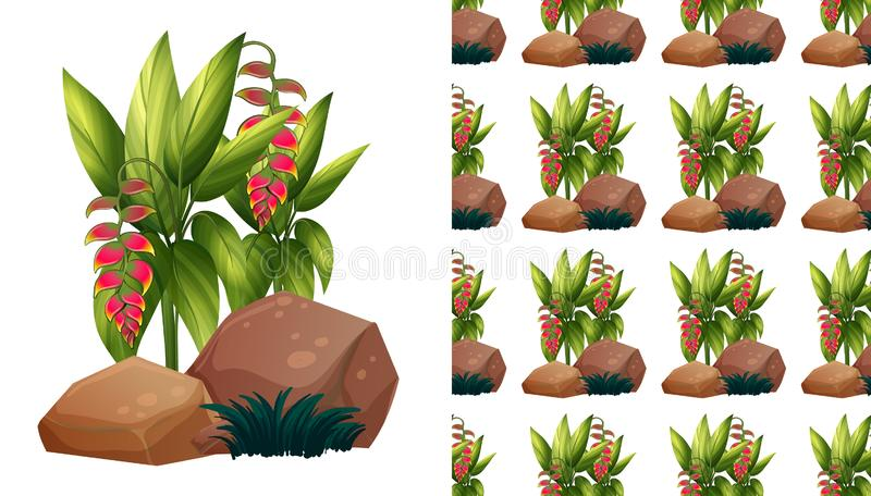Seamless background design with bird of paradise flowers vector illustration