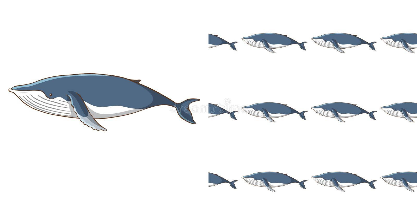 Seamless background design with blue whale vector illustration