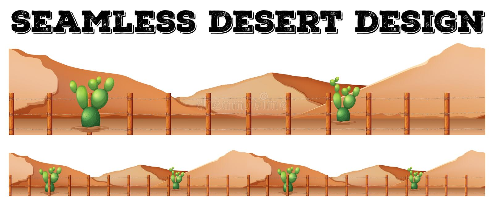 Seamless background design with cactus in desert stock illustration