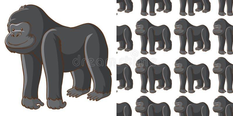 Seamless background design with cute gorilla vector illustration
