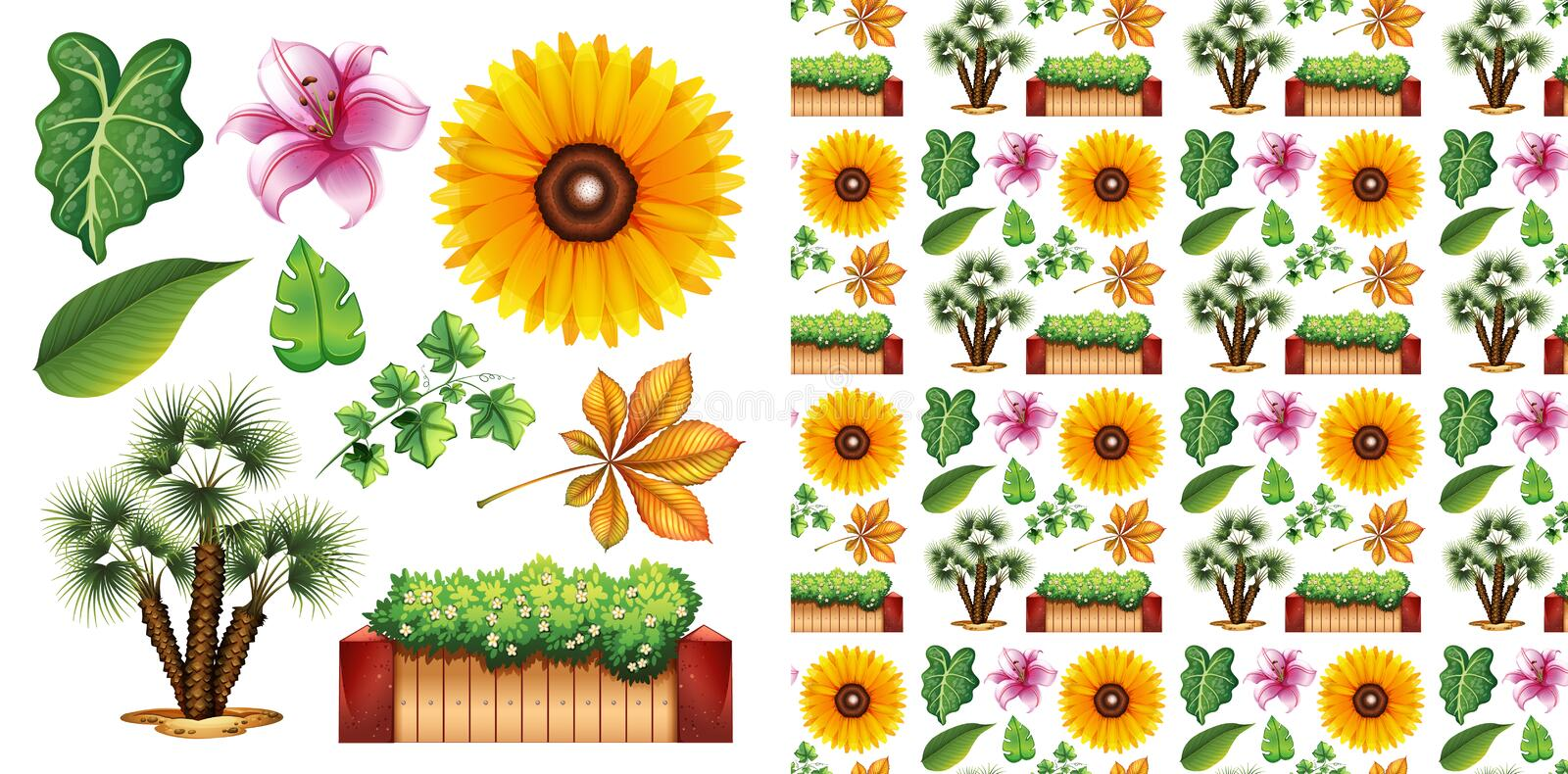 Seamless background design with isolated set of gardening royalty free stock photography