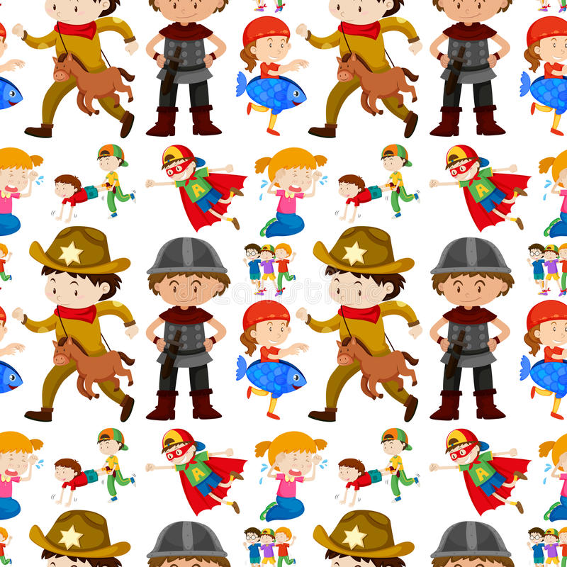 Seamless background design for kids in different costumes royalty free illustration