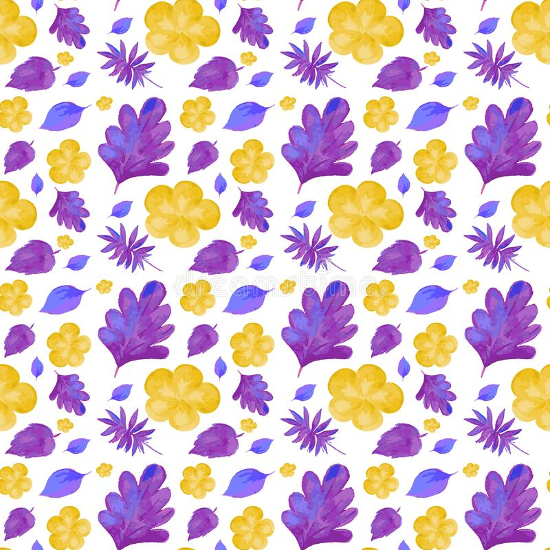 Seamless background design with purple and yellow flowers. Illustration vector illustration