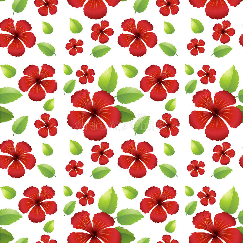 Seamless background design with red flowers stock illustration