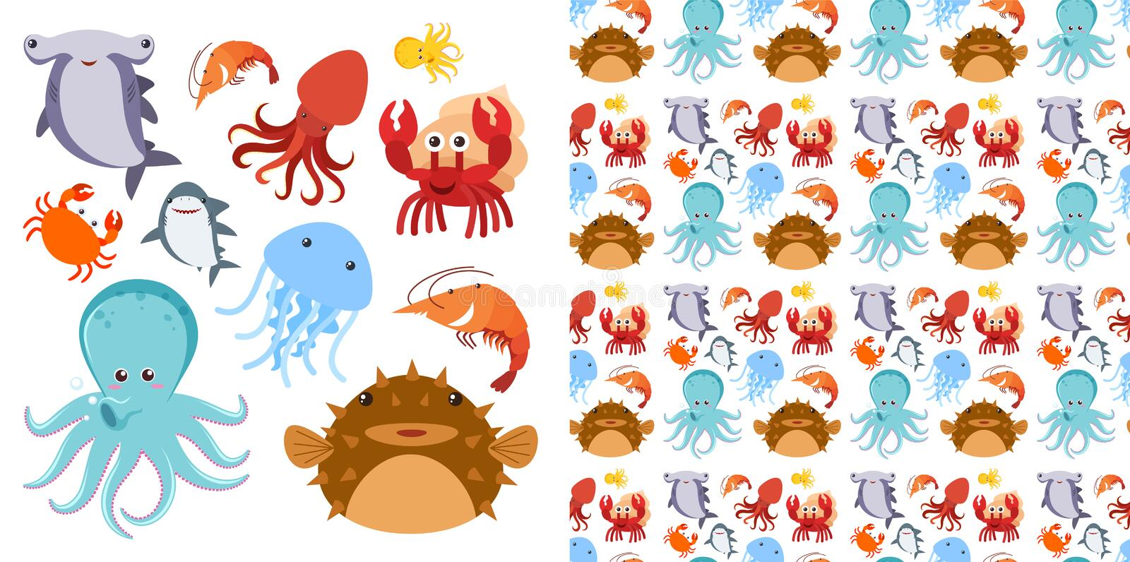 Seamless background design with sea creatures stock illustration