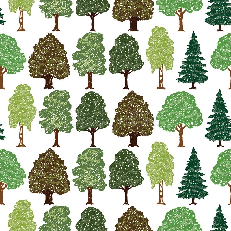 Seamless background of different drawn trees royalty free illustration