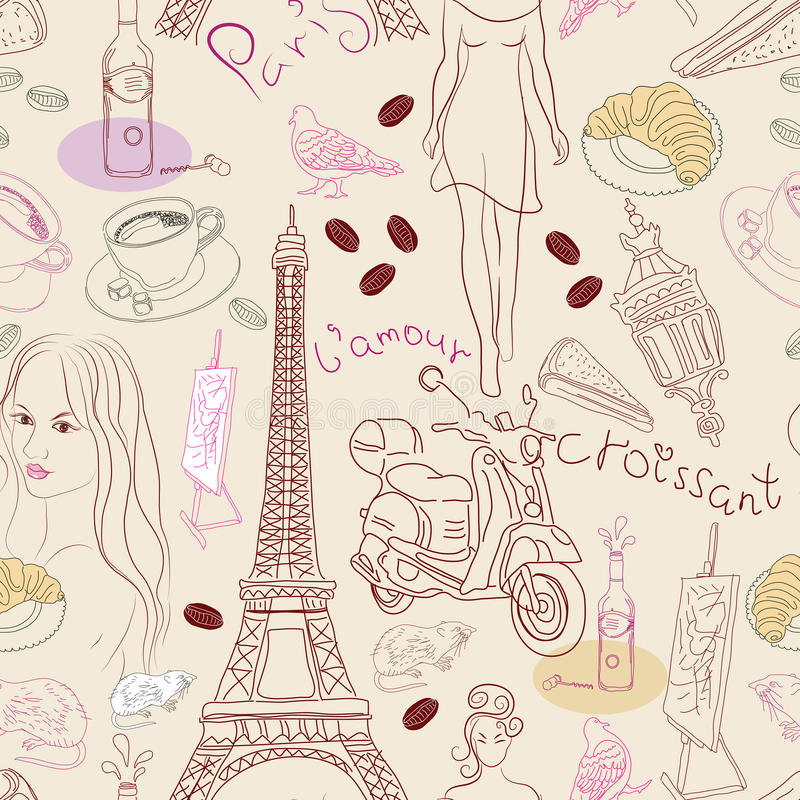 Download Seamless Background With Different Paris Elements Stock Vector - Image: 23262680