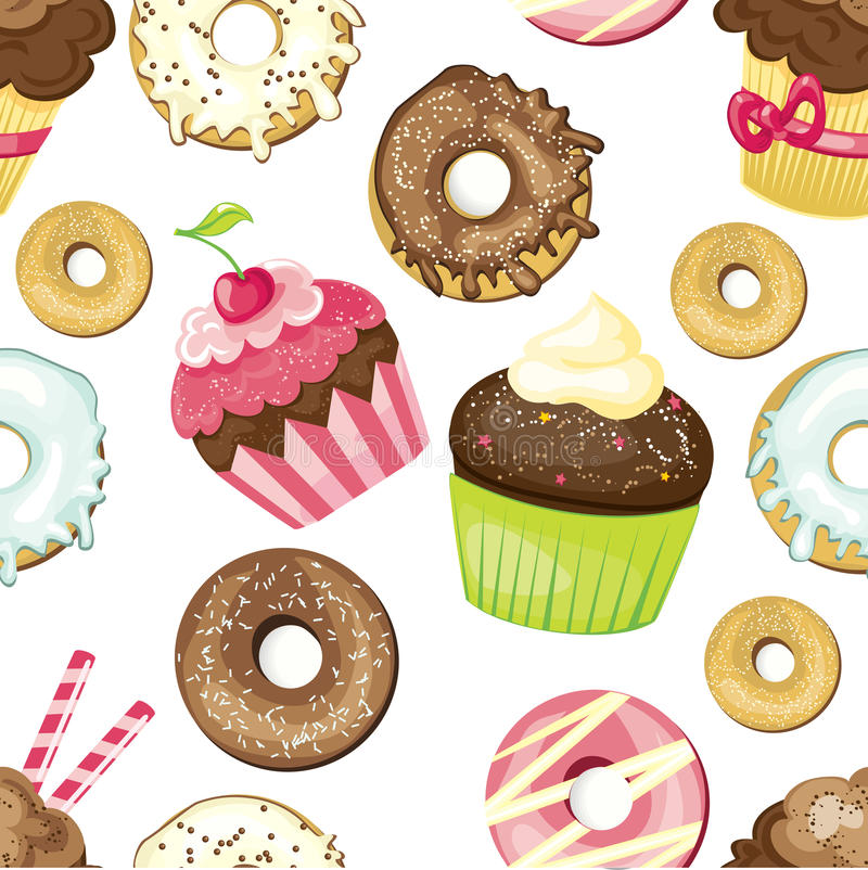 Seamless background with different sweets and desserts. tiled donuts and cupcakes pattern. Cute wrapping paper texture. stock illustration