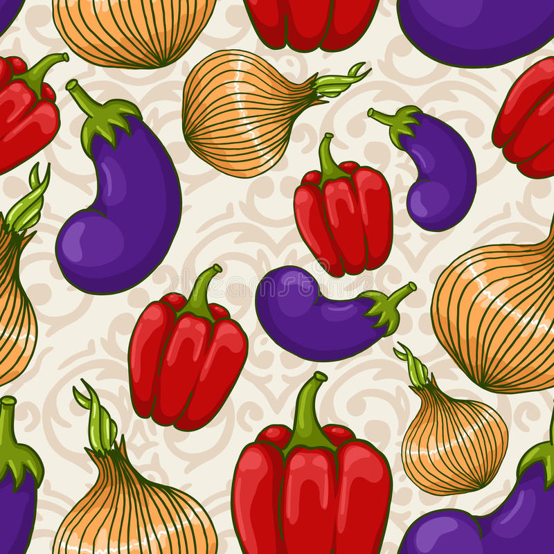 Seamless background with different vegetables stock illustration