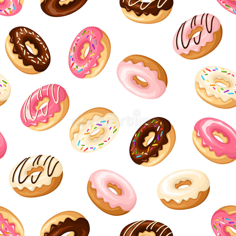 Seamless background with donuts. Vector illustration. Vector seamless pattern with colorful donuts with glaze and sprinkles on a white background