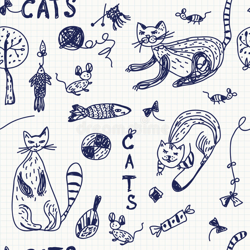 Download Seamless Background With Doodle Cats Royalty Free Stock Photo - Image: 23773495