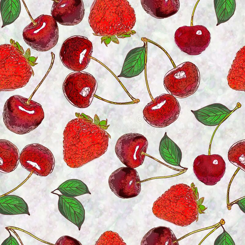 Seamless background drawing - berry of strawberry and cherry royalty free illustration