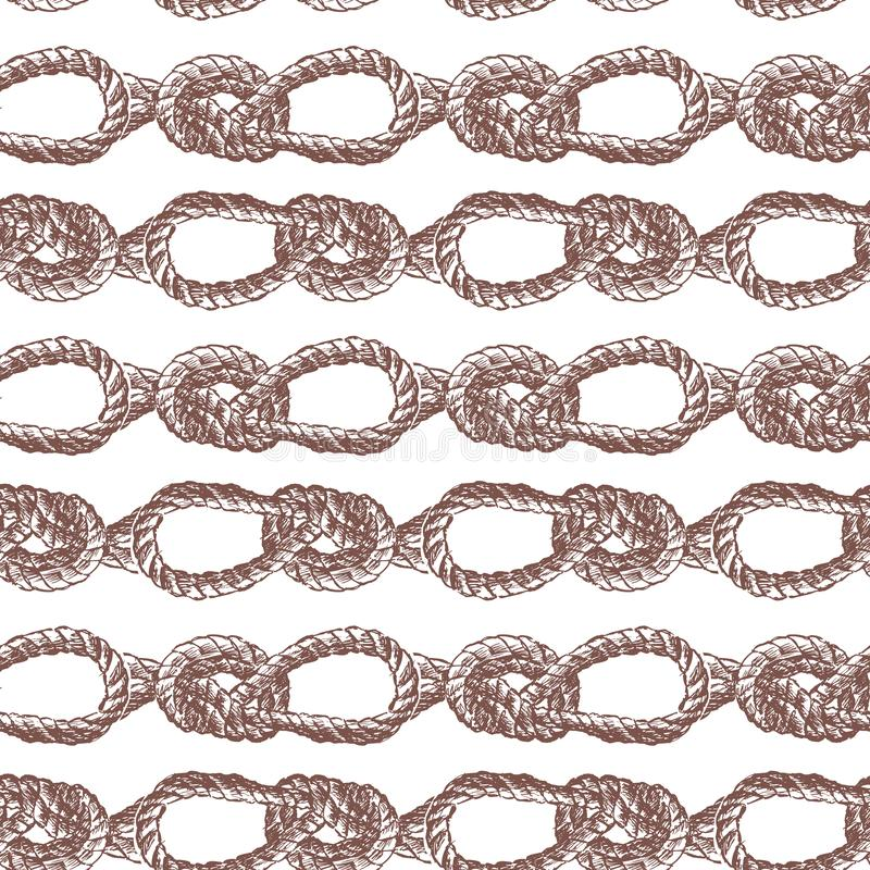 Seamless background of drawn sea knots from rigging rope royalty free illustration
