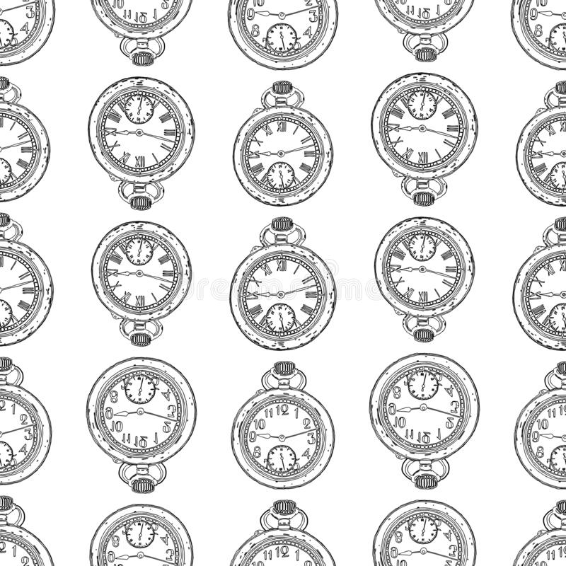 Seamless background of drawn vintage pocket watches royalty free illustration