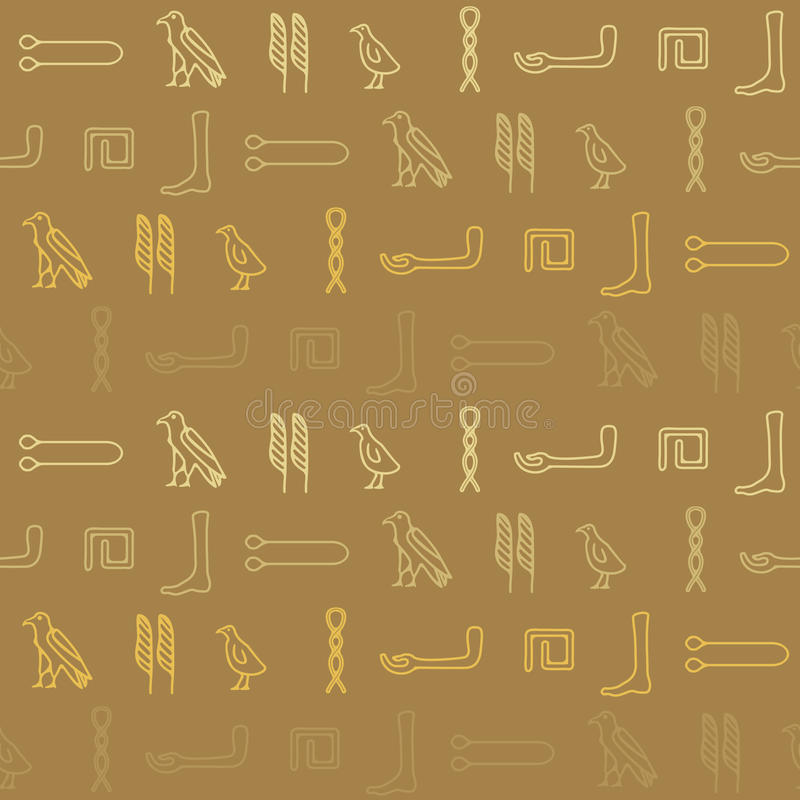 Seamless background with Egyptian hieroglyphs vector illustration