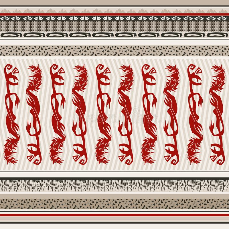 Seamless background in ethnic style with red monsters royalty free illustration