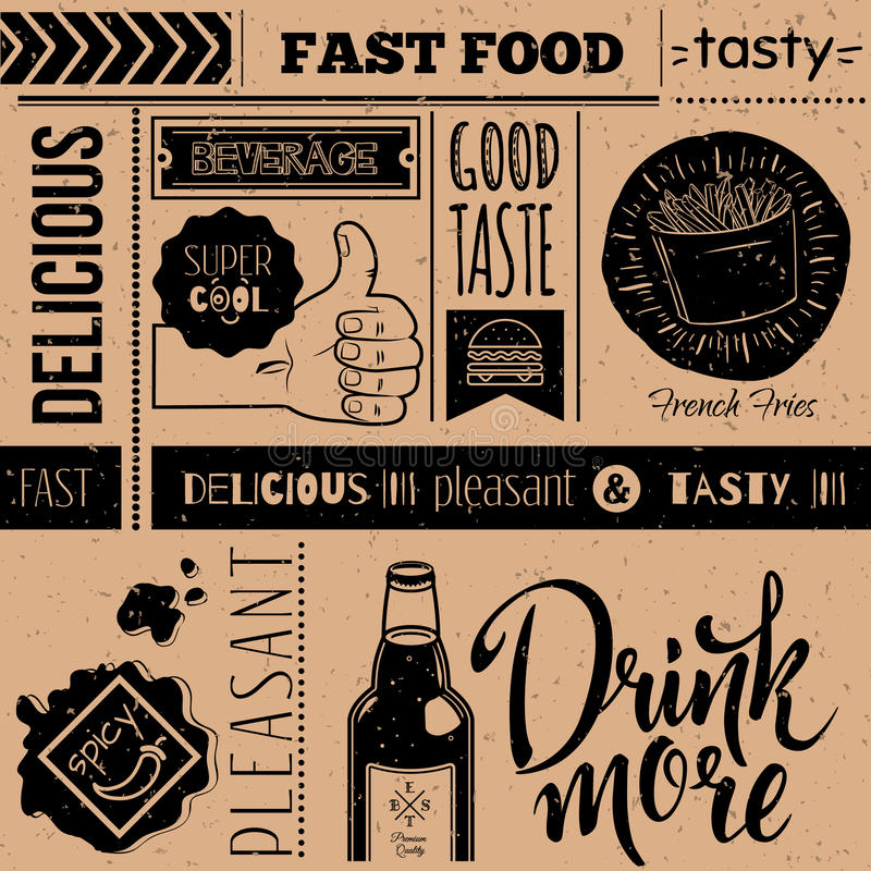 Seamless background with fast food symbols. Menu pattern. Vector Illustration with food lettering and labels on craft paper background. Decorative elements for vector illustration