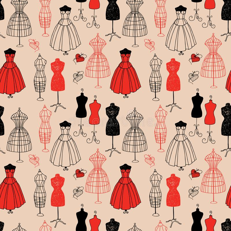 Seamless background of the female mannequins royalty free illustration