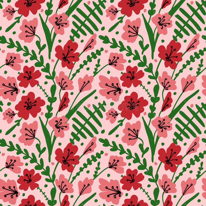Seamless background with field flowers and herbs. Pattern with hand drawn poppy, grass and leaves. Vector floral texture royalty free stock photography