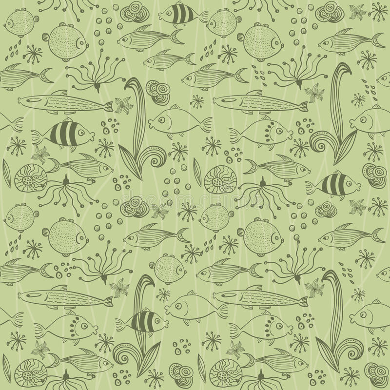 Seamless background with fish in vector royalty free illustration