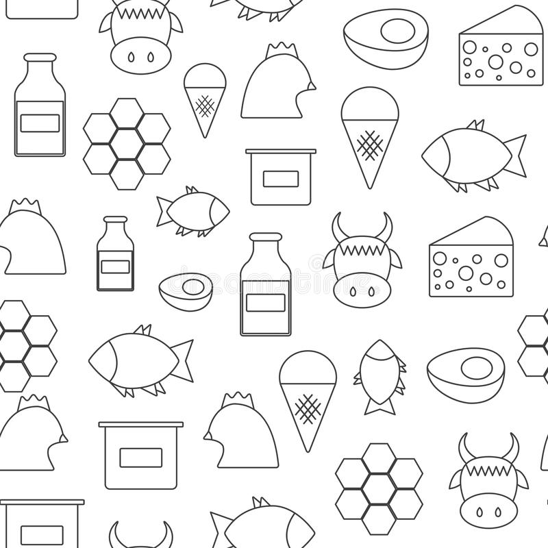 Seamless background with flat objects of products stock illustration