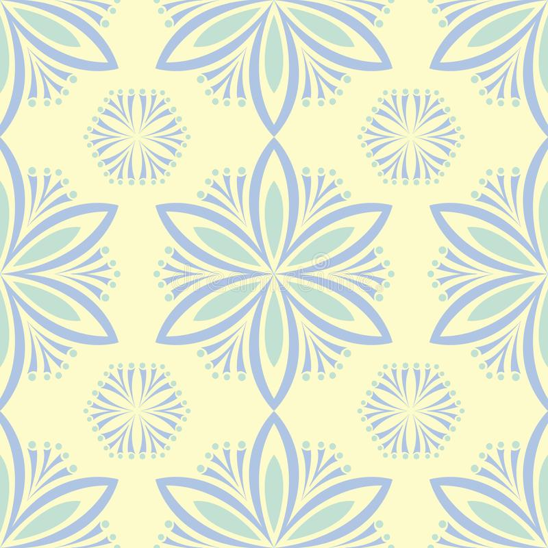 Seamless background with floral pattern. Beige background with light blue and green flower elements stock illustration