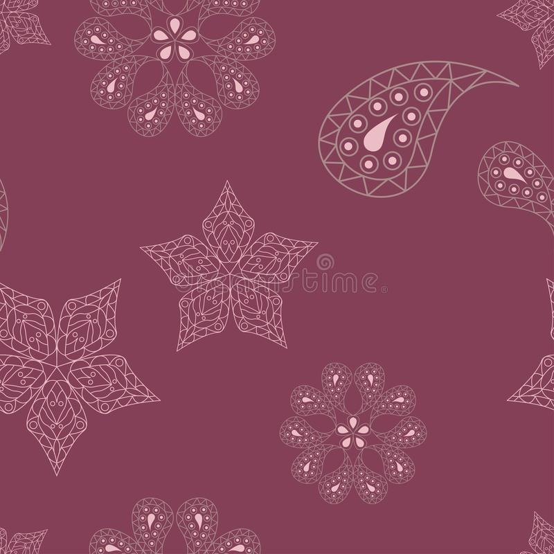 Seamless background. Floral purple red pattern vector illustration