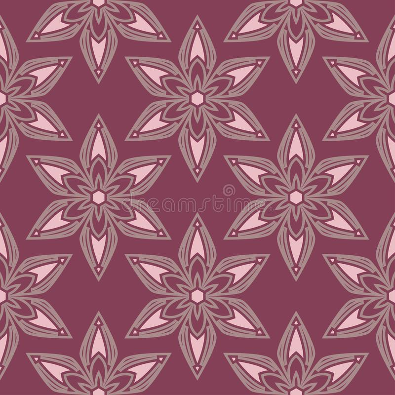 Seamless background. Floral purple red pattern stock illustration