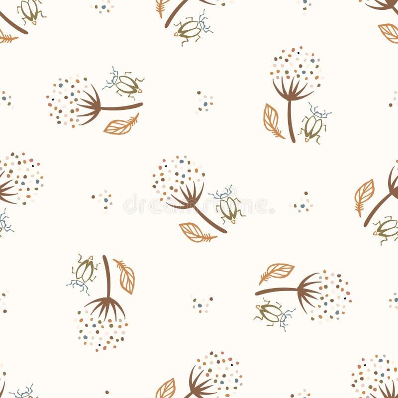 seamless background flower bug gender neutral baby pattern simple whimsical minimal earthy tone color kids nursery wallpaper 192094158