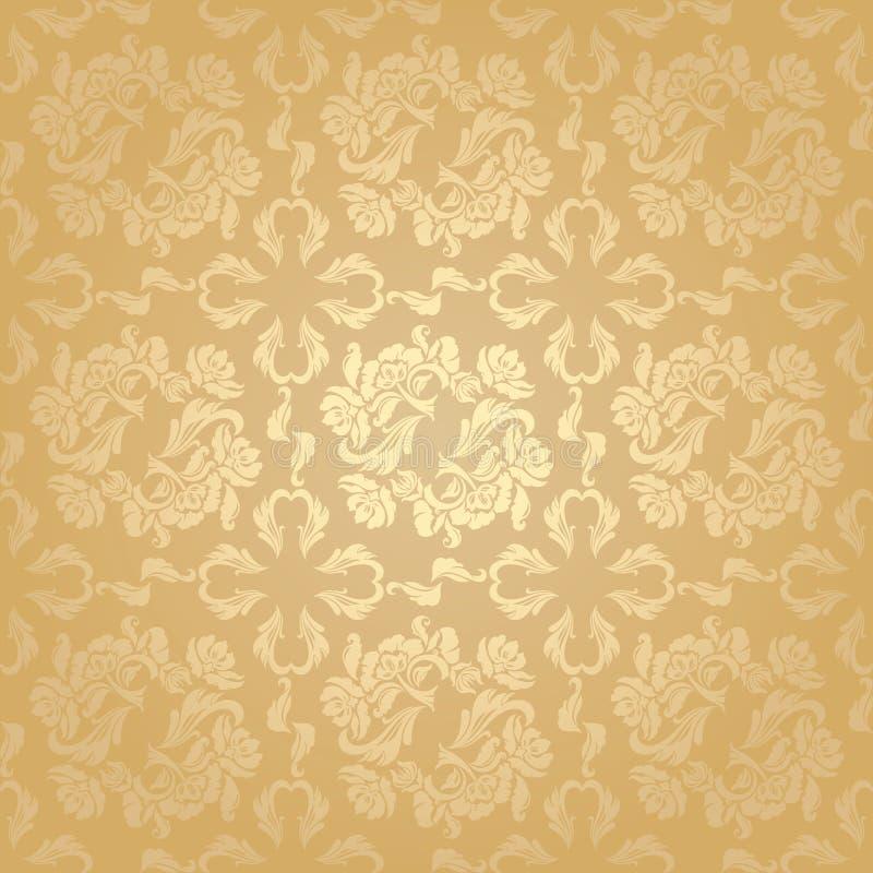 Seamless background flowers, flora. Gold vector illustration
