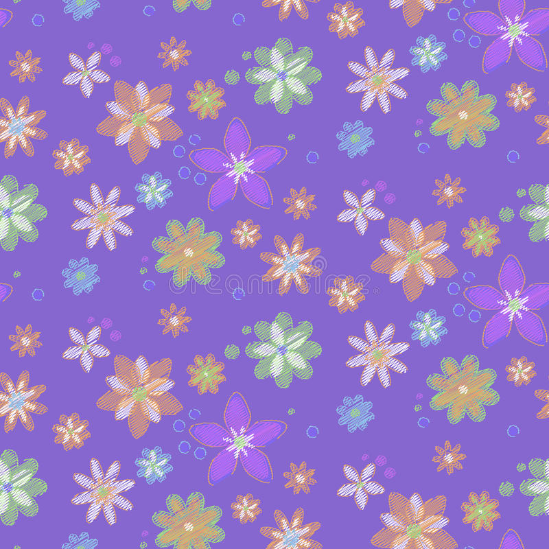 Download Seamless Background With Flowers, Hand-drawn Style Royalty Free Stock Photos - Image: 23894188