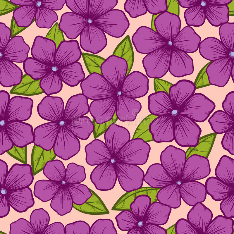 Seamless background with flowers and leaves. Beautiful seamless background with flowers and leaves, painted in graphic style contour lines and strokes royalty free illustration