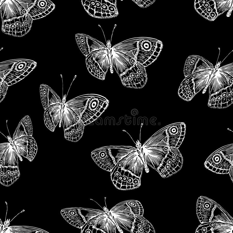 Seamless background of the flying butterflies vector illustration