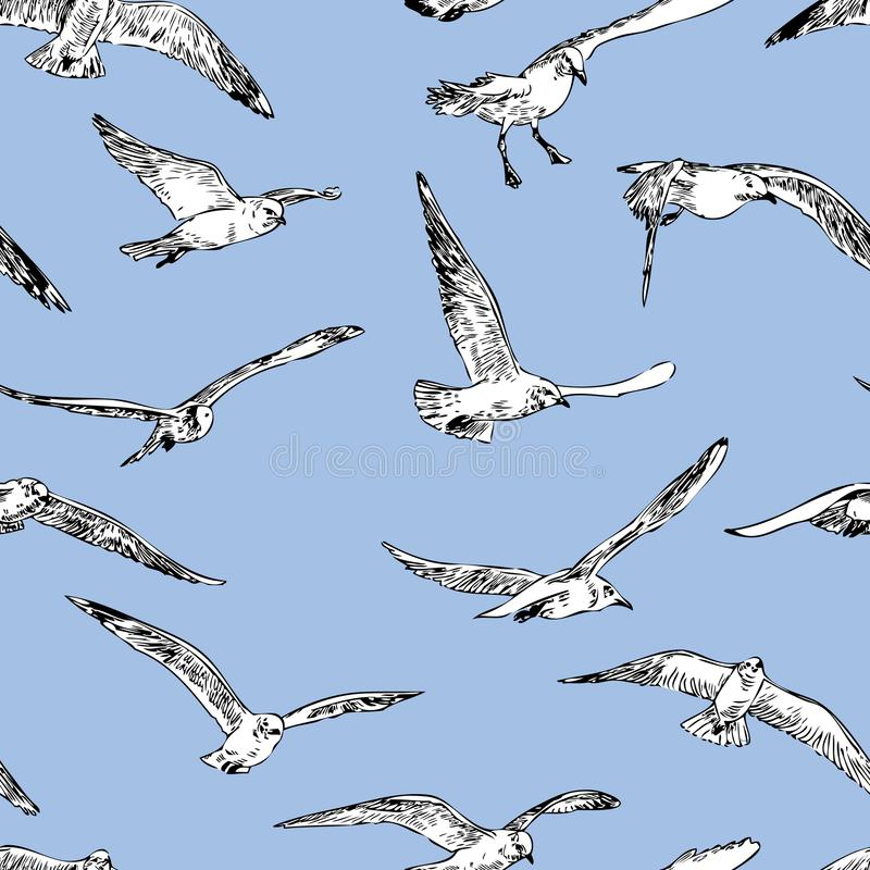 Seamless background of the flying seagulls royalty free illustration
