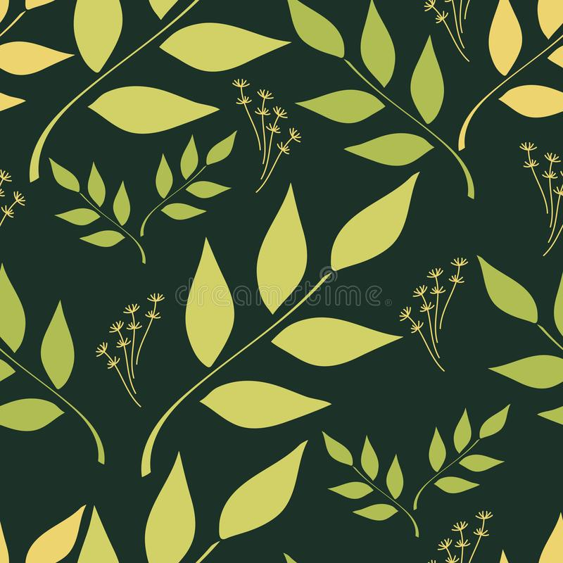 Seamless background of foliage of natural branches and herbs royalty free illustration