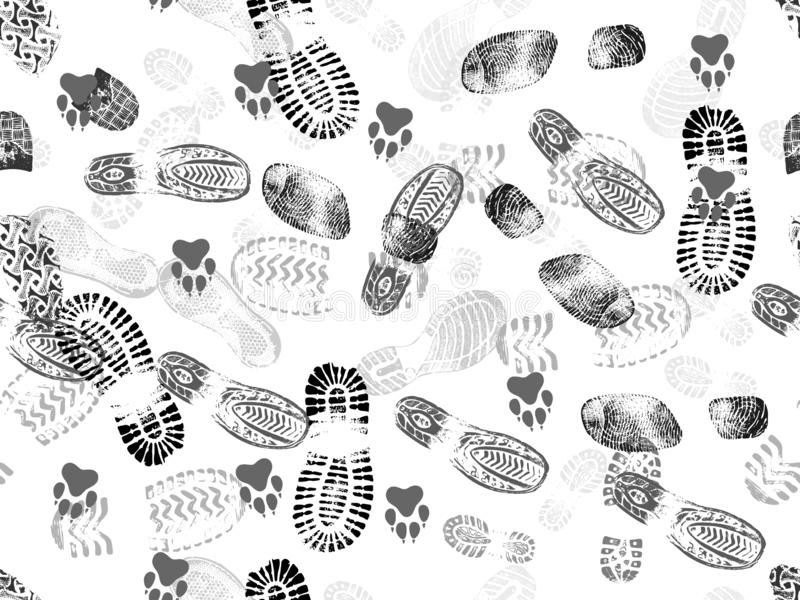 Seamless background of footprints and animal footprints. Vector illustration vector illustration