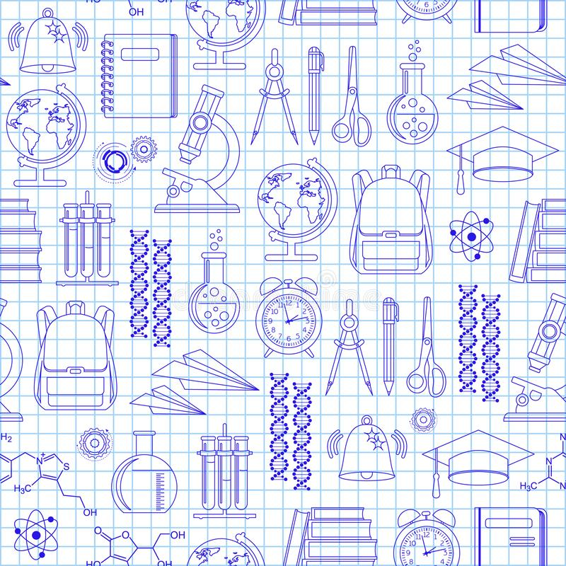 Seamless background. Freehand drawing school items on a sheet of exercise book. Back to School. Vector illustration stock illustration