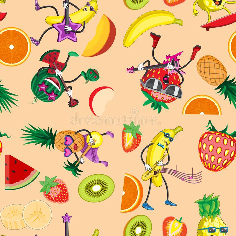 Seamless background fruit characters play musical instruments. Design kids printing paper cloth banner. Vector image. Esp 10 royalty free illustration