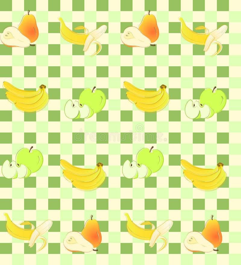 Download Seamless Background With Fruit On Green Squares. Stock Illustration - Image: 25148908