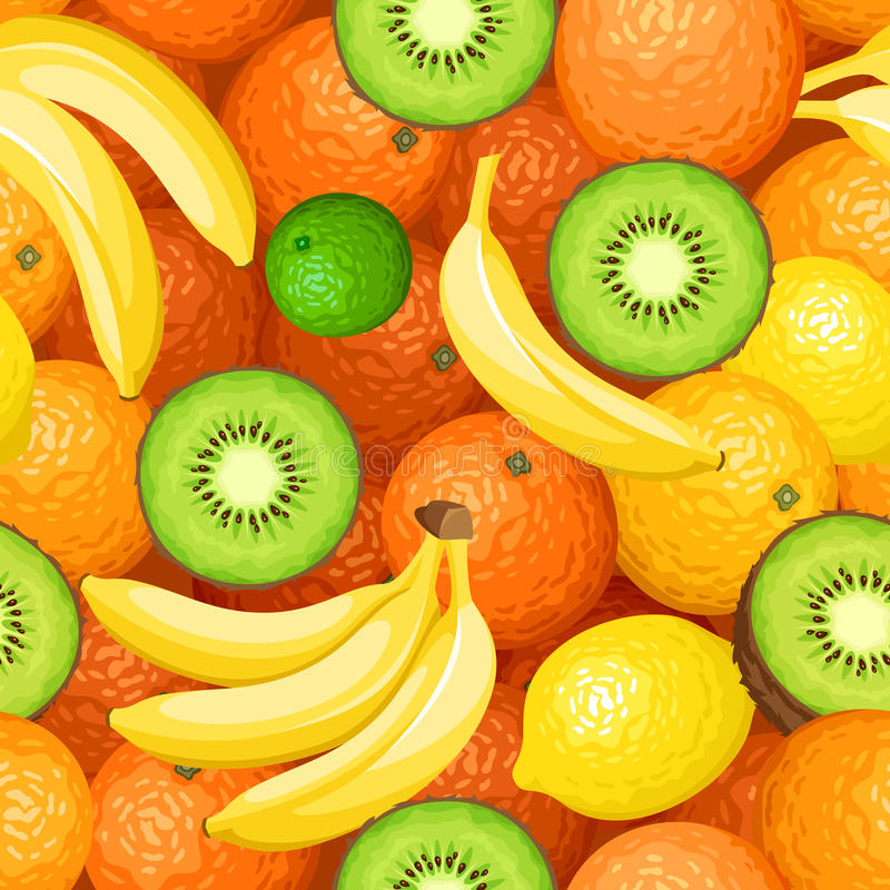 Seamless background with fruits. Vector illustration. Vector seamless background with oranges, bananas and kiwi vector illustration