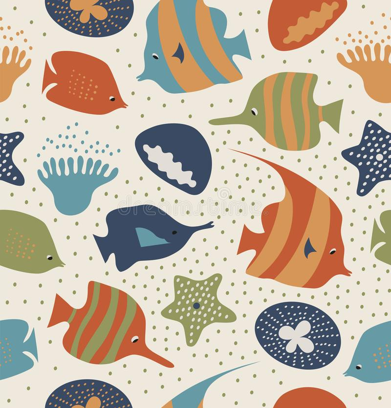 Seamless background with funny fishes, jellyfishes. Decorative marine texture. Pattern with sea creatures, corals. vector illustration