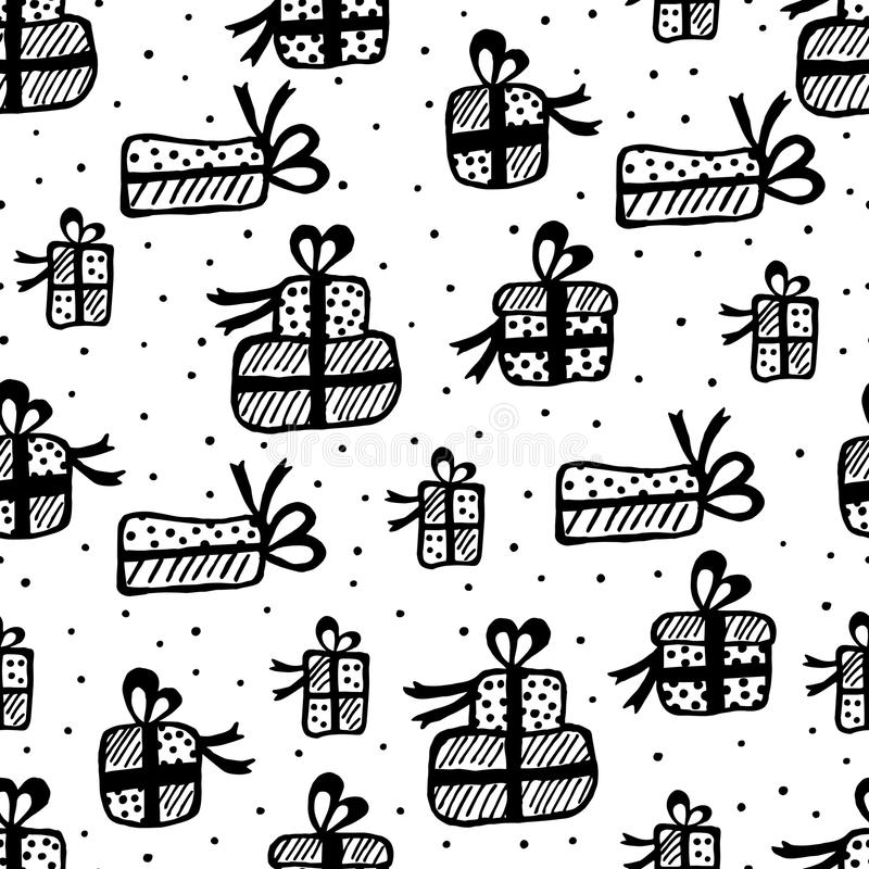 Seamless background of gift box stock illustration