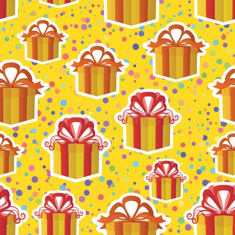 Seamless Background with Gift Boxes royalty free illustration