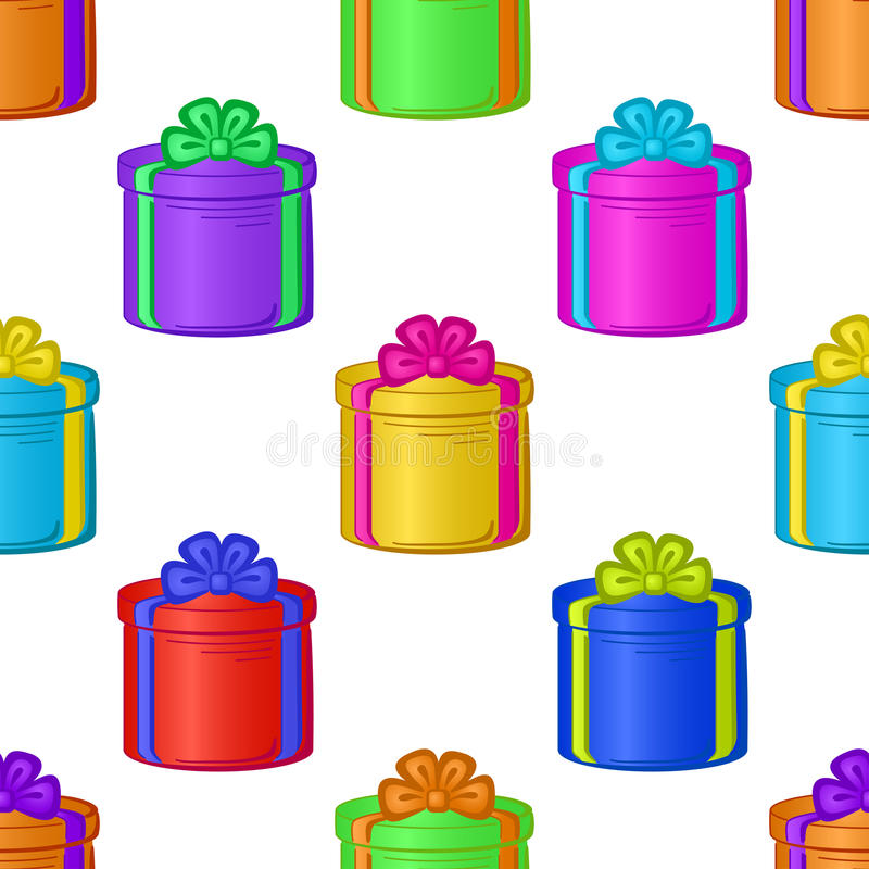 Seamless background with gift boxes stock illustration