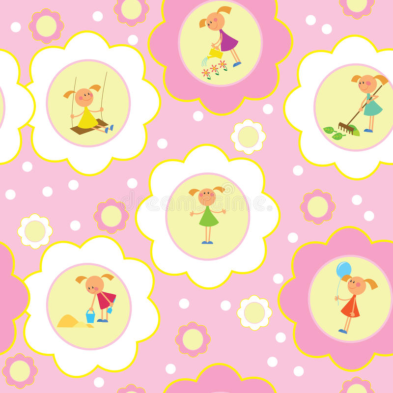Download Seamless background -girl stock vector. Image of cute - 14391048