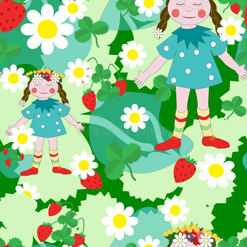 Seamless background the girl on the summer meadow royalty free illustration
