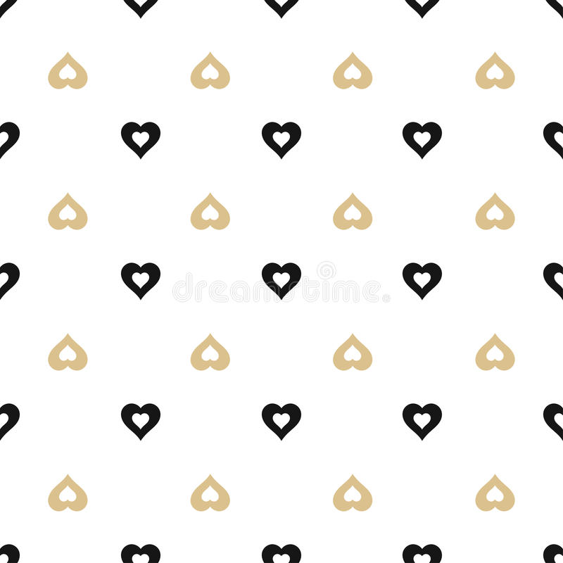 seamless background with gold and black hearts royalty free illustration