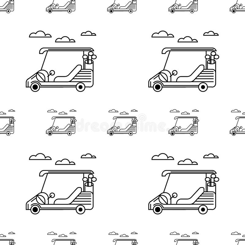 Seamless background for golf. Golf cart royalty free illustration